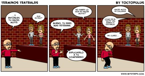 tira cómica sobre peripecias teatrales